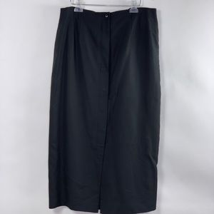 Talbots Black Button Front Long Skirt Size 18